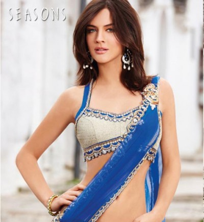 Indian Sari With Short Back Blouse Collection 2013-14 For Women (2)