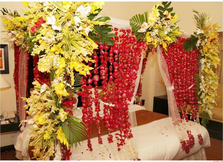 Bridal Room Decoration ideas 2013 flower and lights 001. Flower designing of Decorating Bed Room for Wedding Night