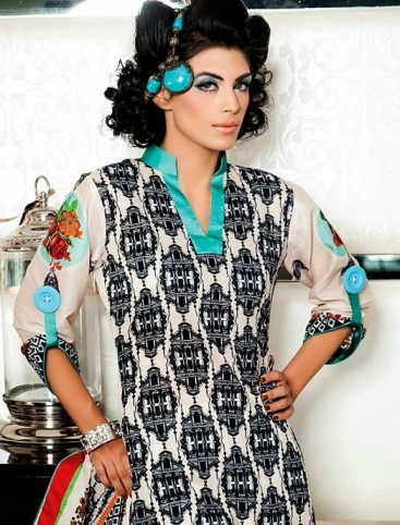 Party wear printed linen winter collection 2013 for women by Bashir Mill