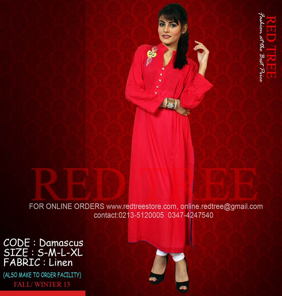 Red Tree Simple Casual Winter Kurti Dresses 2013 for Girls