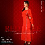 Red Tree Simple Casual Winter Kurti Dresses 2013 for Girls (2)