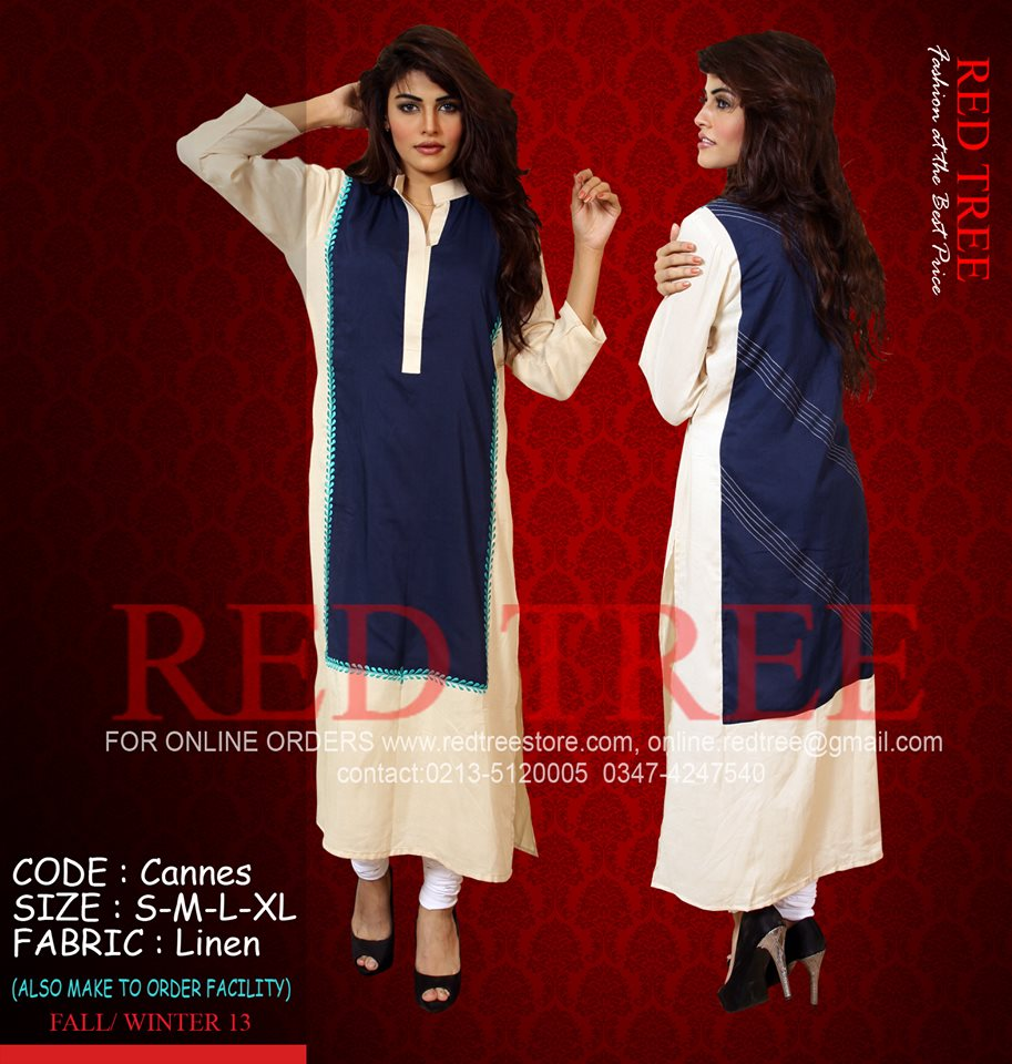 Red Tree Simple Casual Winter Kurti Dresses 2013 for Girls (8)