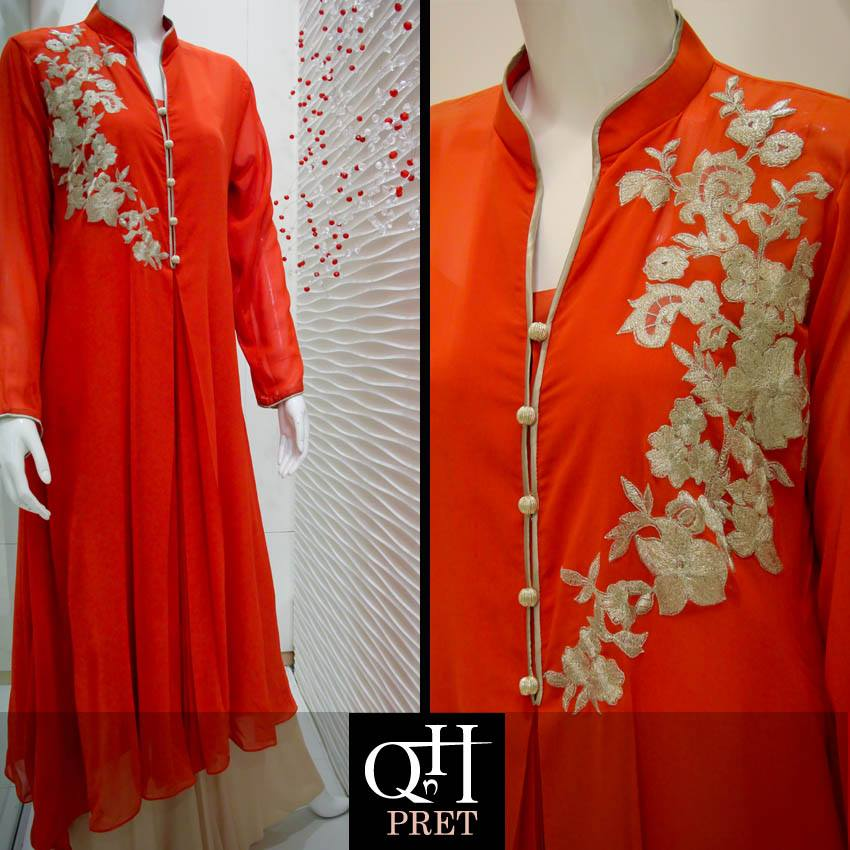Qnh latest winter long shirt collection 2013 14 for women Fashion style in pakistan 2013