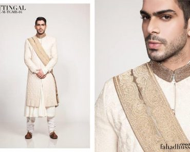 New Groom Wedding Dresses Sherwani 2014 By Fahad Hussayn (1)