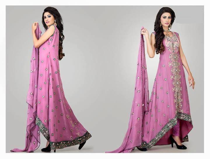 Cotton And Silk-UAE Latest Party Wear Dresses 2014 For Women (2)