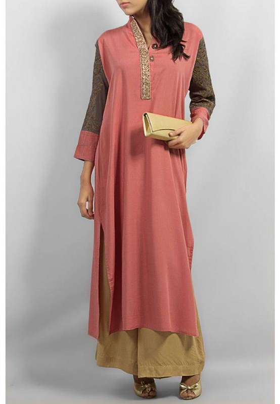 Eid Wear Latest Winter Dresses Collection 2014 By Grapes The Brand (1)