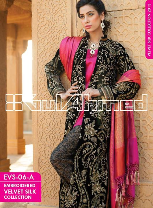 Gul Ahmad Embroidered Silk Velvet Coats Winter Collection 2014 For WOmen (1)