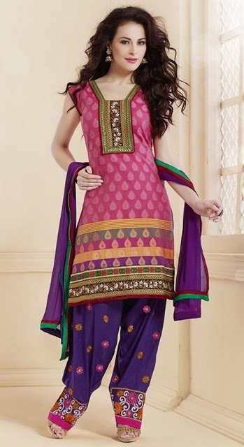 Thread Embroidered Salwar Suits Collection 2014 For Girls