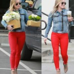 Hilary Duff New Skinny Jeans with a Denim Jacket 2014