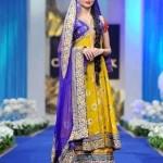 Stylesh farak in yellow color for mehndi of girls 2014-2015