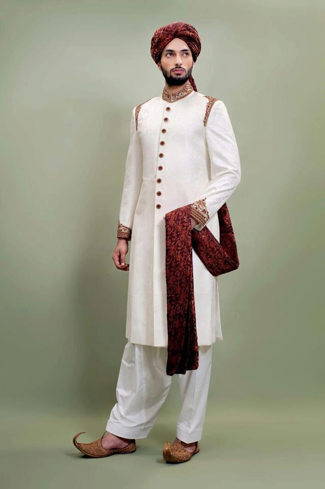 White shairwani for boys