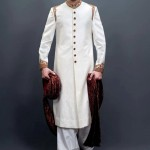 Simple white shairwani design for boys