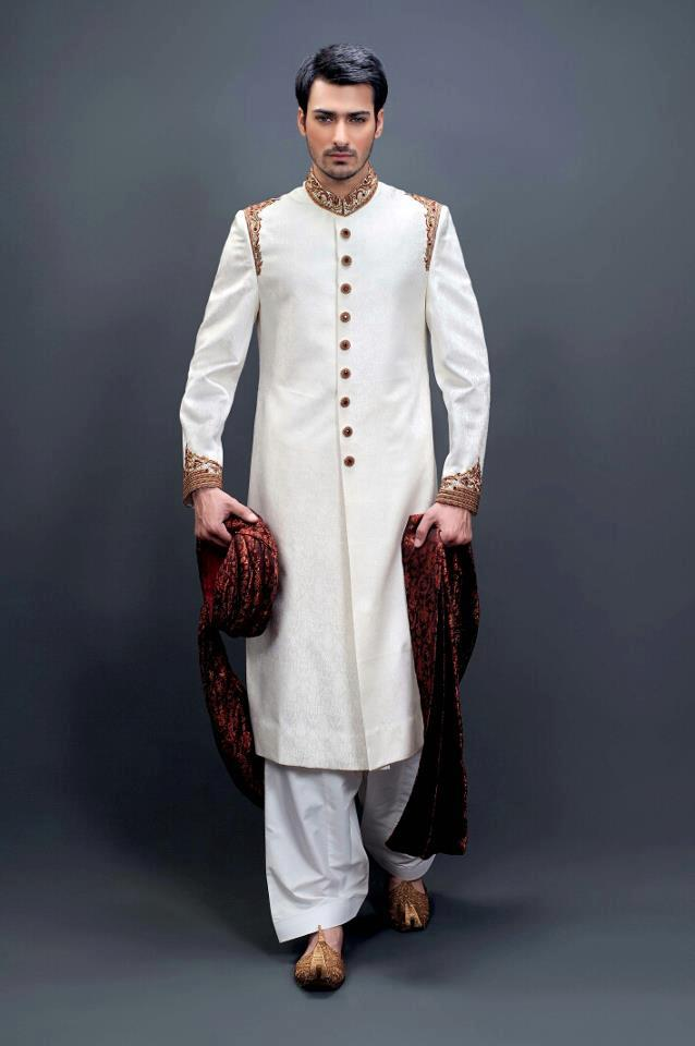Simple white shairwani design for boys