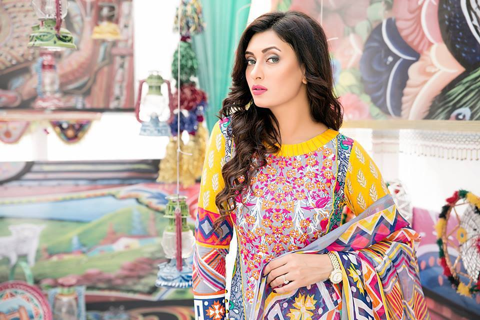 Amna Ismail Embroidered Lawn Collection  with yellow colour