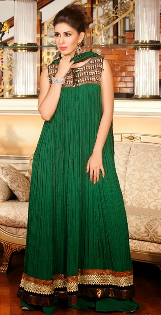 Eid dress design 2015 with green color