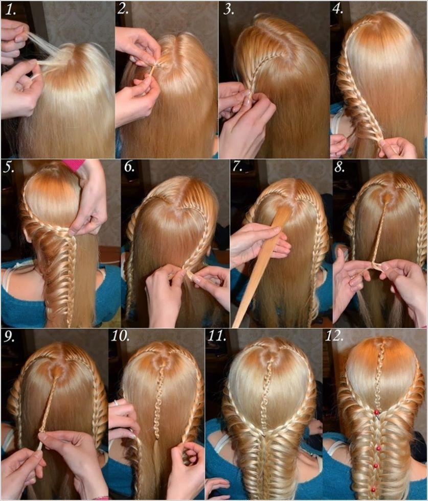 Простые прическа из косички на средние волосы
