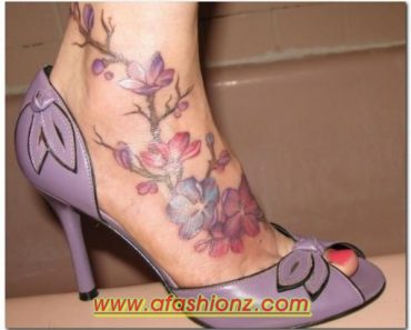 Latest Casual Feet Flower Tattoo Designs For Girls 2015-2016