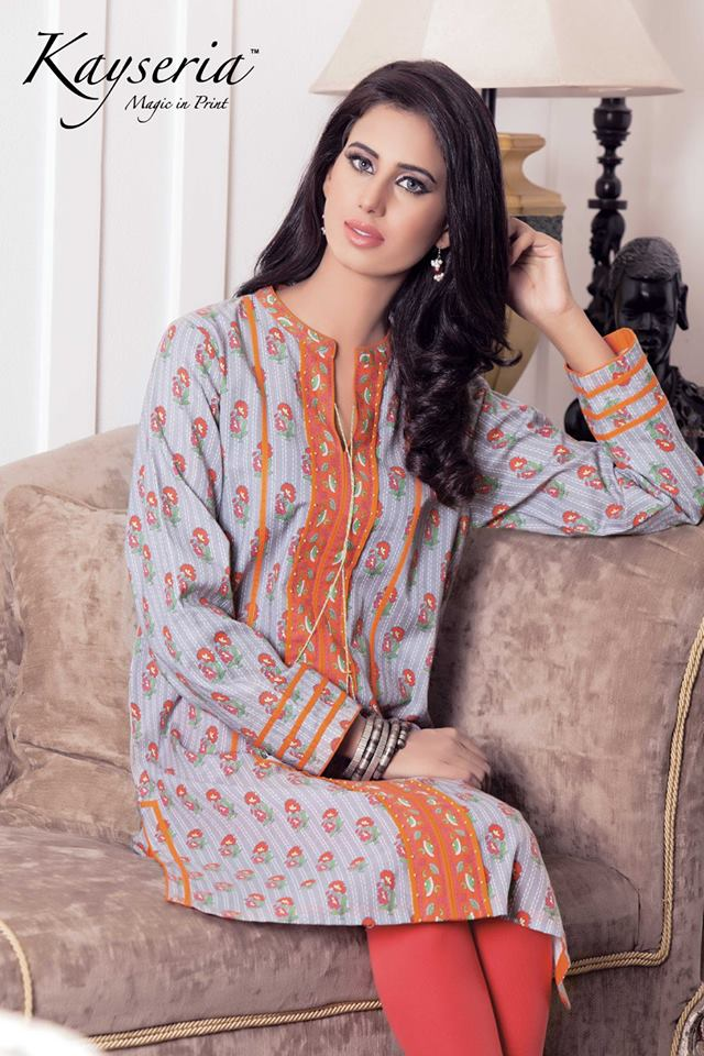 Kayseria lovely Fall winter Printed Shirts 2015-16 for Girls