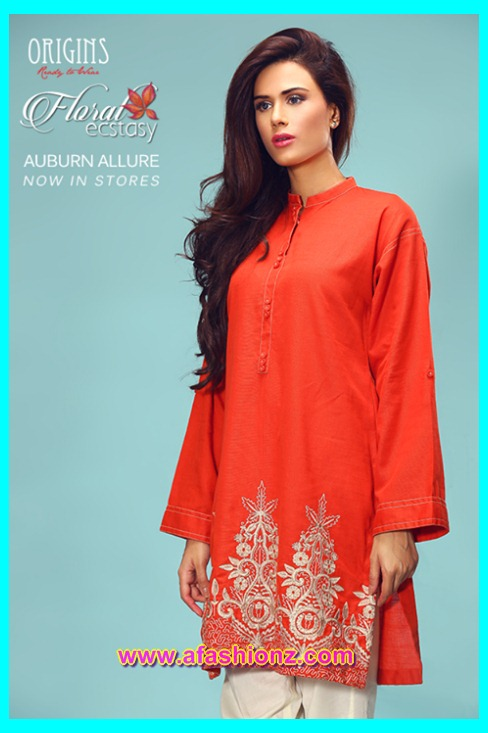 Origin Embroidered Kurti Floral Dresses 2016-17 for girls to look gorgeous on your parties, Special Occasion & Casual Wear. The latest collection of Origin Textiles.