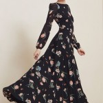 Eliza J print Belted Chiffon Maxi dress Collection 2016