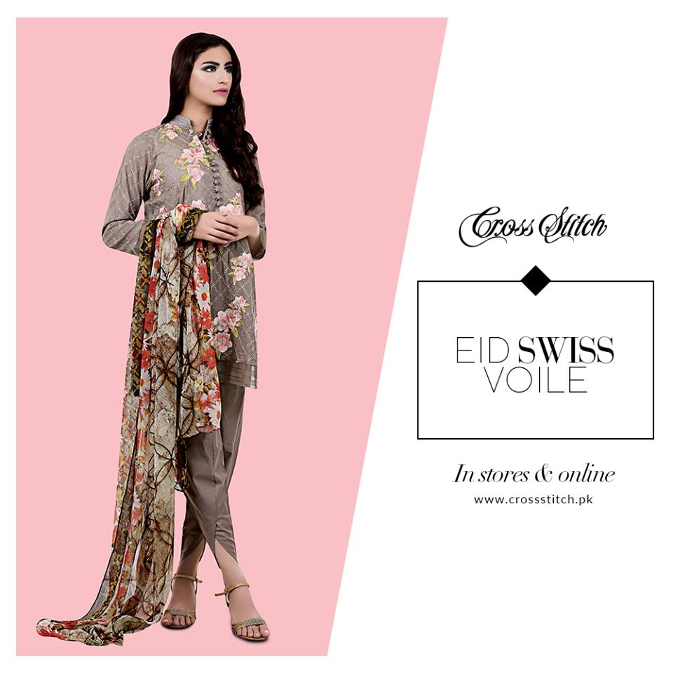 Cross Stitch unstitched Embroidered Swiss Voile Eid collection