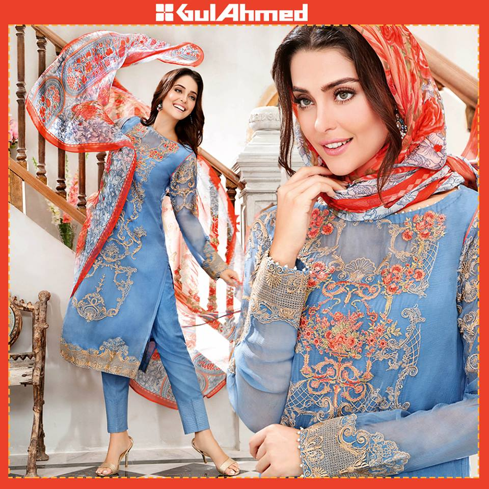 Gul Ahmad Festive Eid Collection 2016 premium Embroidered Chiffon