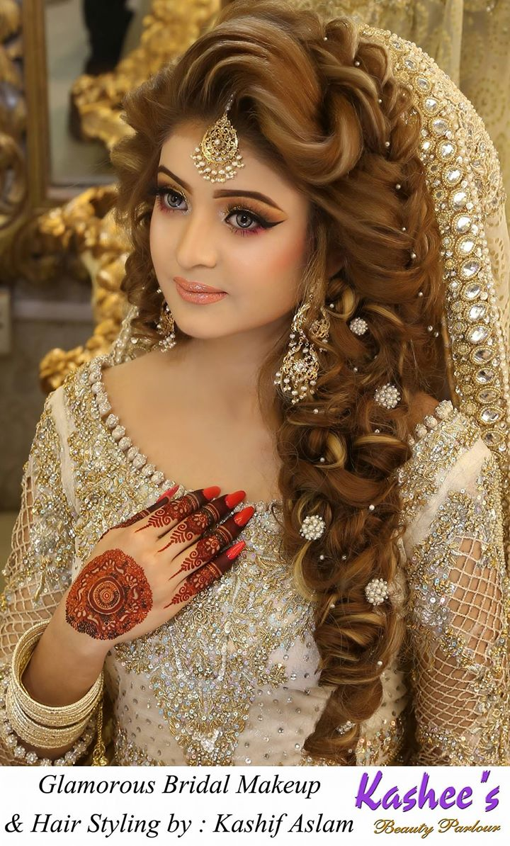 Mehndi Hairstyles Latest : Kashees beautiful bridal hairstyle makeup beauty parlour