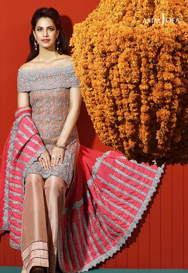 Asim Jofa Wedding Wear Bridal Silk  & Chiffon New Dress 2017